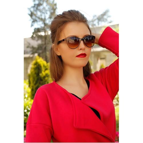 Morvizyon Clariss Marka Kahverengi Cam Tasarımlı Şık Bayan Güneş Gözlük Modeli
