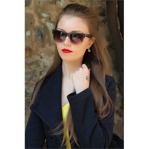 Morvizyon Clariss Marka Füme Rengi Yarım Çerçeve Tasarımlı Bayan Güneş Gözlük Modeli