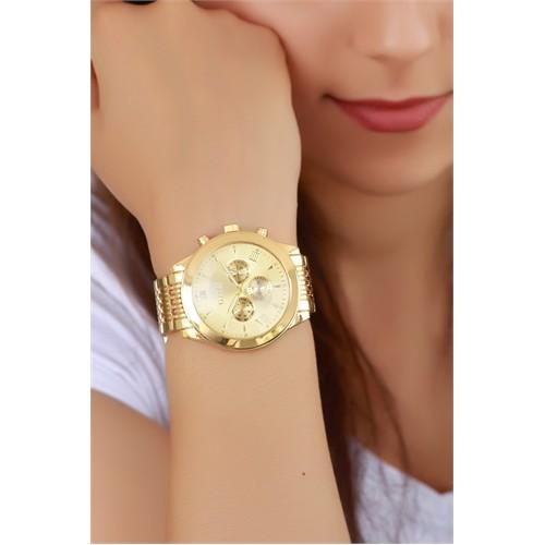 Morvizyon Clariss Marka Sarı Kaplama Renk Tasarımlı Bayan Saat