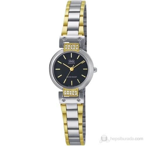 Q and Q Q695J405Y. Часы наручные женские стрелочные с корпусом из нержавеющей стали с черным циферблатом с