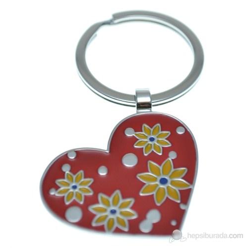 Nektar J03609 Çiçekli Kalp Anahtarlık Kırmızı