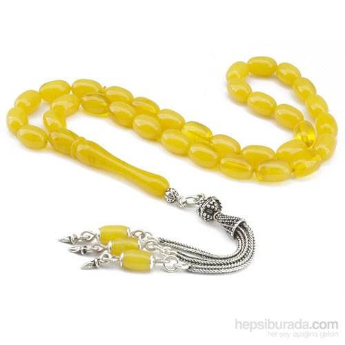 Tesbihane El İşçiliği Gümüşlü Sarı Renk Sıkma Kehribar Tesbih