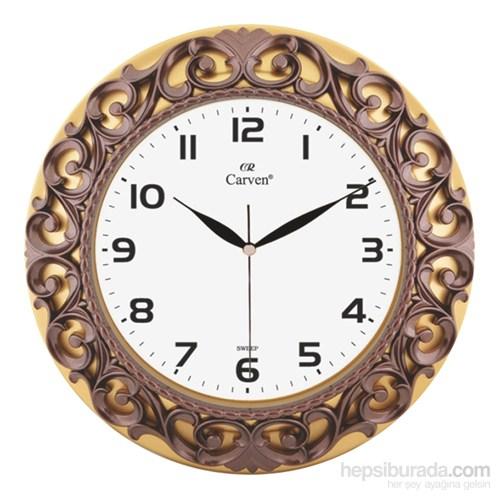 Carven Dekoratif Motifli Duvar Saati Altın/Kahve