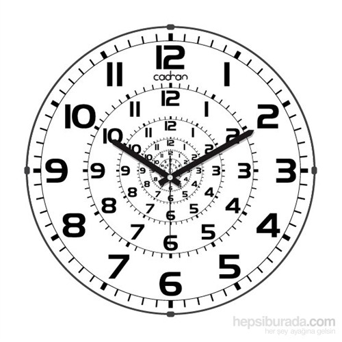 Cadran 110-12 Bombeli Cam Duvar Saati Zaman