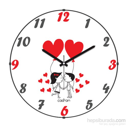 Cadran 110-17 Bombeli Cam Duvar Saati Love-2