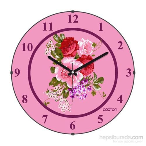 Cadran 110-19 Bombeli Cam Duvar Saati Çiçekler-2