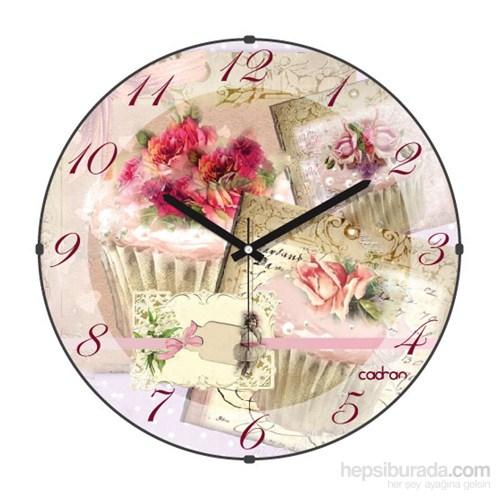 Cadran 180-11 Mutfak Bombeli Cam Duvar Saati Çiçekler