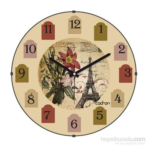 Cadran 130-13 Paris Collection Bombeli Cam Duvar Saati Dilimli Eyfel Kulesi