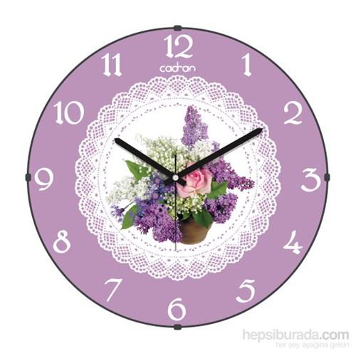 Cadran 160-1 Dantel Desenli Bombeli Cam Duvar Saati Çiçek