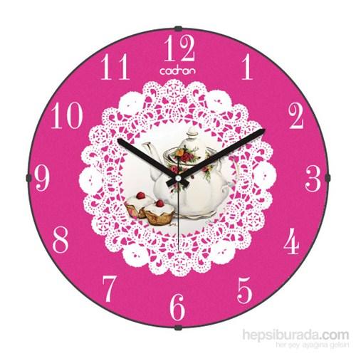Cadran 160-5 Dantel Desenli Bombeli Cam Duvar Saati Demlik Cupcake