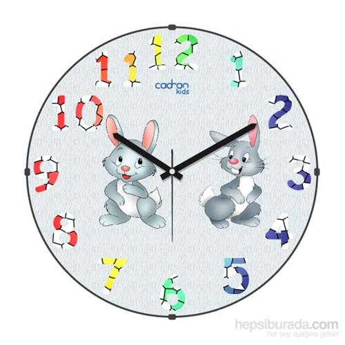 Cadran 150-5 Kids Bombeli Cam Duvar Saati Tavşanlar