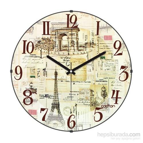 Cadran 130-5 Paris Collection Bombeli Cam Duvar Saati Retro Kolaj Paris