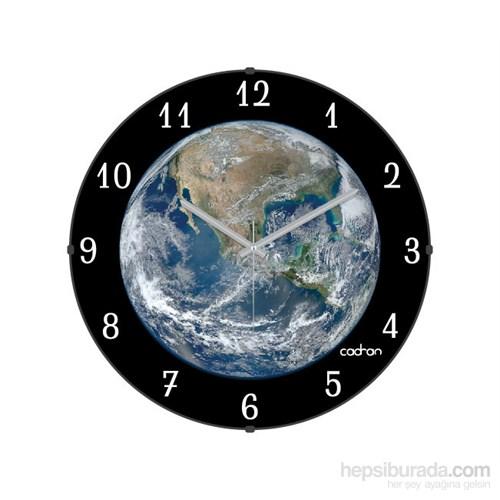 Cadran 110-6 Bombeli Cam Duvar Saati Dünya
