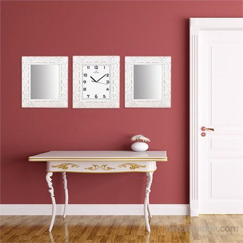Carven Motifli Dikdörtgen 2'Li Ayna Ve Duvar Saati Kombin Çatlak Beyaz