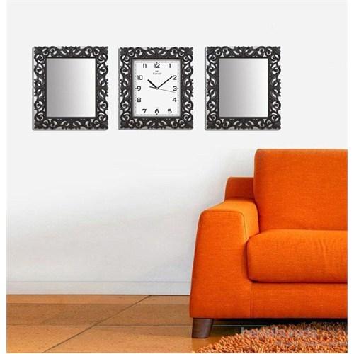 Carven Motifli Dikdörtgen 2'Li Ayna Ve Duvar Saati Kombin Gri Siyah