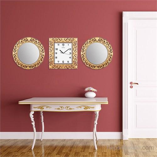 Carven Motifli 2'Li Ayna Ve Duvar Saati Kombin Kahve Altın-2