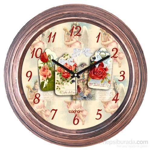 Cadran 1108-24 Dekoratif Vintage Duvar Saati Bakır Çiçekler Angels Kolaj