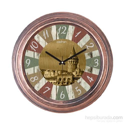 Cadran 1108-25 Dekoratif Vintage Duvar Saati Bakır Galata