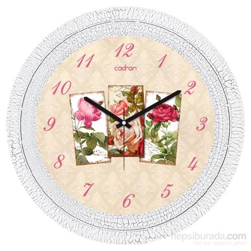 Cadran 1108-33 Dekoratif Vintage Duvar Saati Çatlak Desen Çiçekler Kolaj
