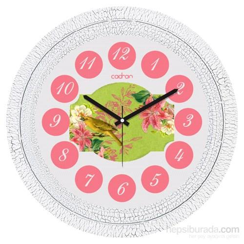 Cadran 1108-43 Dekoratif Vintage Duvar Saati Çatlak Desen Pembe Çiçekler Kuş