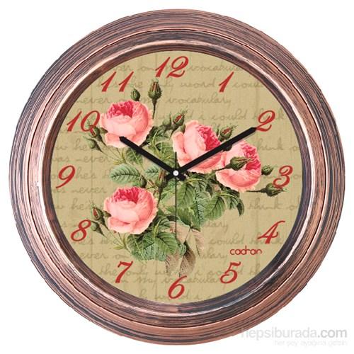 Cadran 1108-52 Dekoratif Vintage Duvar Saati Bakır Çiçekler