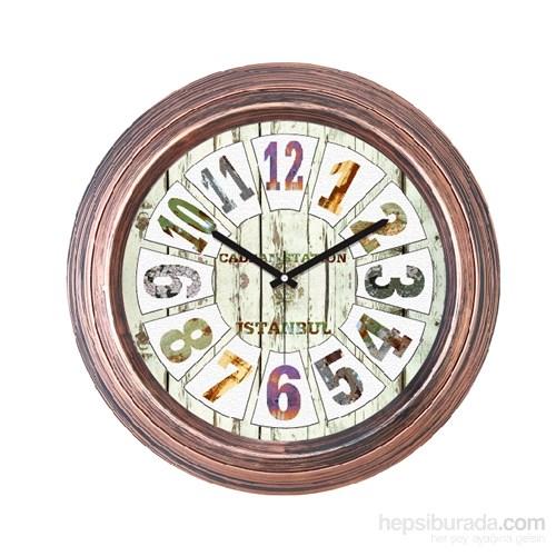Cadran 1108-53 Dekoratif Vintage Duvar Saati Bakır Dilimli