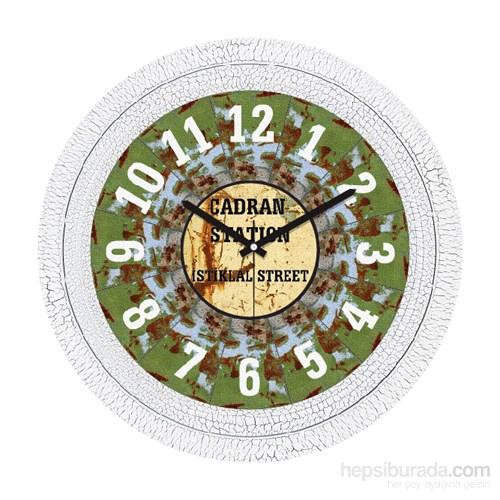 Cadran 1108-54 Dekoratif Vintage Duvar Saati Çatlak Desen İstiklal Street