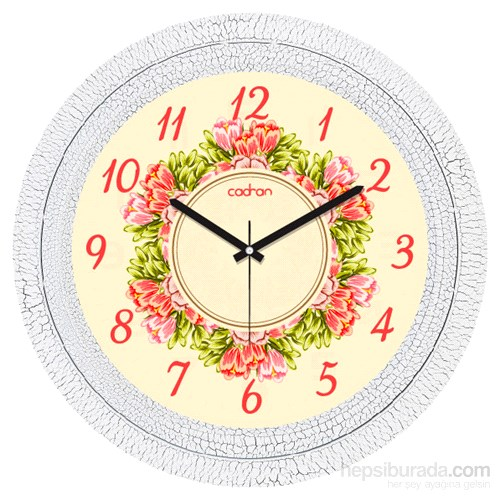 Cadran 1108-55 Dekoratif Vintage Duvar Saati Çatlak Desen Çiçek Çemberi