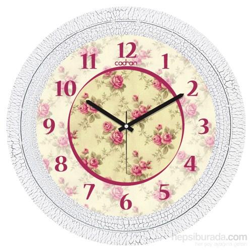 Cadran 1108-57 Dekoratif Vintage Duvar Saati Çatlak Desen Çiçekler-5