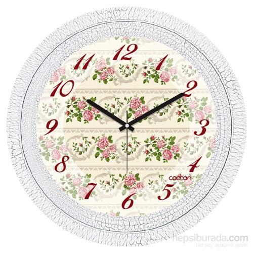 Cadran 1108-79 Dekoratif Vintage Duvar Saati Çatlak Desen Floral-2