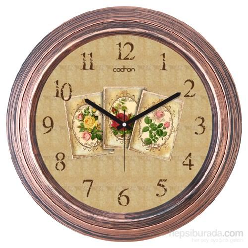 Cadran 1108-4 Dekoratif Vintage Duvar Saati Bakır Çiçekler Kolaj