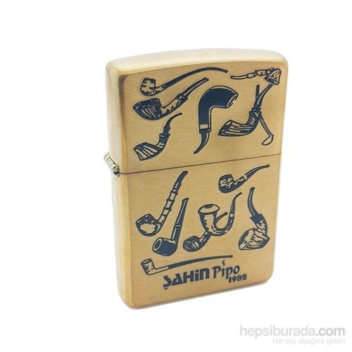 Zippo Şahin ,Sarı Pipo Desenli Pipo Çakmağı 204B