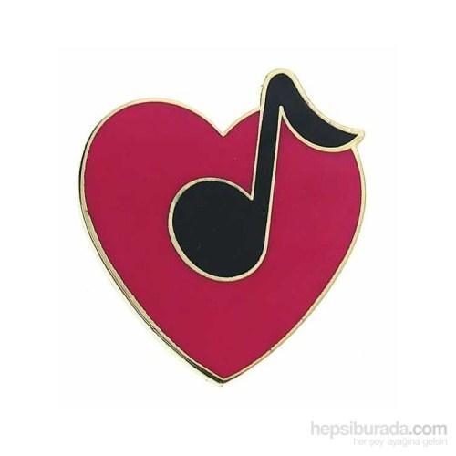 Kalp Üzeri 8 Lik Nota Yaka İğnesi