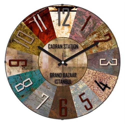 Cadran Retro Vintage Bombeli Cam Duvar Saati Metalik Dilimler-3