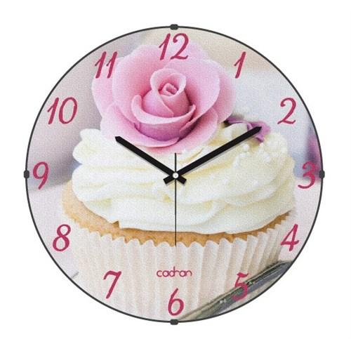 Cadran Kitchen Bombeli Cam Duvar Saati Cupcake