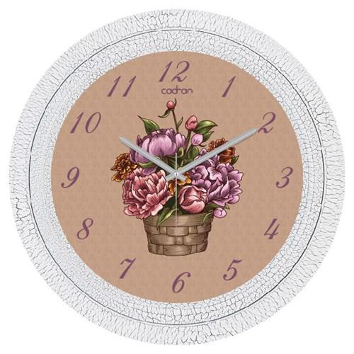 Cadran Dekoratif Vintage Çatlak Desen Duvar Saati Çiçek Sepeti