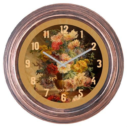 Cadran Dekoratif Vintage Çatlak Desen Duvar Saati Vazo Çiçekler-2