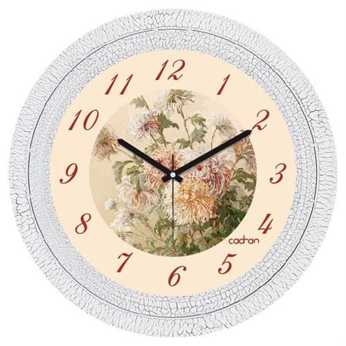Cadran Dekoratif Vintage Çatlak Desen Duvar Saati Çiçekler-4