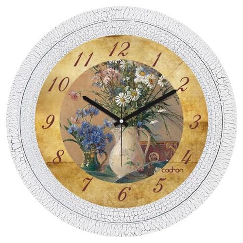Cadran Dekoratif Vintage Çatlak Desen Duvar Saati Vazo Çiçekler-3
