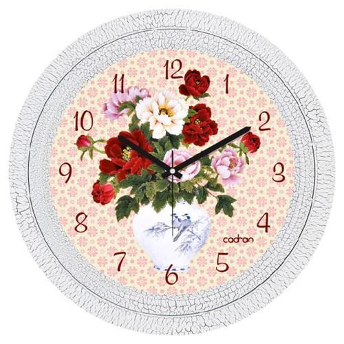 Cadran Dekoratif Vintage Çatlak Desen Duvar Saati Vazo Çiçekler-4