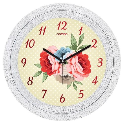 Cadran Dekoratif Vintage Çatlak Desen Duvar Saati Puantiyeli Çiçekler
