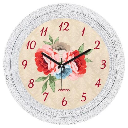 Cadran Dekoratif Vintage Çatlak Desen Duvar Saati Çiçekler