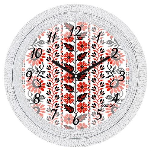 Cadran Dekoratif Vintage Çatlak Desen Duvar Saati Ukrayna Deseni-3