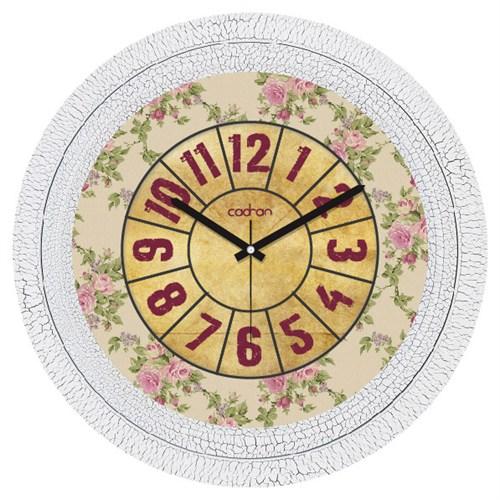 Cadran Dekoratif Vintage Çatlak Desen Duvar Saati Çiçek Desen-2
