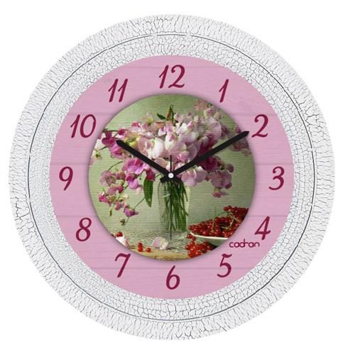 Cadran Dekoratif Vintage Çatlak Desen Duvar Saati Çiçekler Kiraz