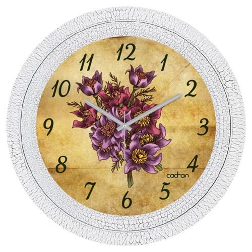 Cadran Dekoratif Vintage Çatlak Desen Duvar Saati Retro Çiçekler
