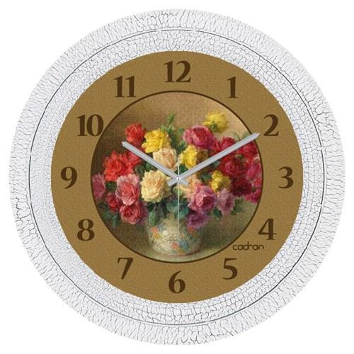 Cadran Dekoratif Vintage Çatlak Desen Duvar Saati Vazo Çiçekler