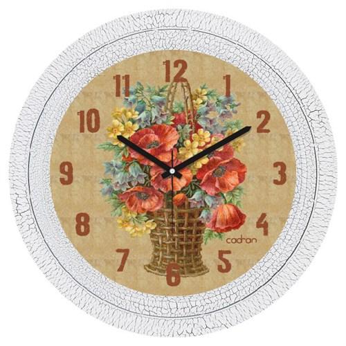 Cadran Dekoratif Vintage Çatlak Desen Duvar Saati Çiçek Sepeti-2