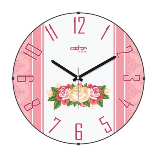Cadran Luxury Sweet Home Bombeli Cam Duvar Saati Güller-23