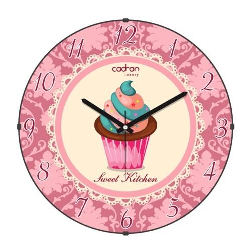 Cadran Luxury Sweet Kitchen Bombeli Cam Duvar Saati Cupcake-2